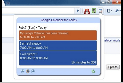 Today's Schedule in Google Calendar